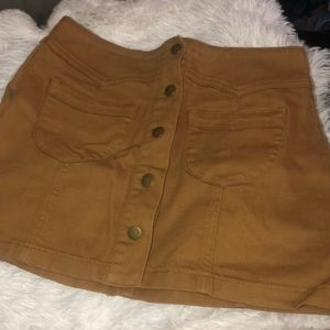 Tan denim button up skirt